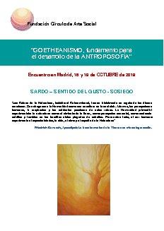 Programa del Encuentro de octubre en la sede de la Fundación Círculo de Arte Social